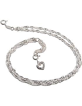 Fußkette Silber 2reihig (Singapurkette) mit Anhänger Herz weiß - 2,3mm Breite, Länge wählbar 23cm-30cm - echt...