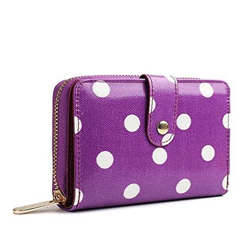 Miss Lulu Designer Oilcloth Floral Spot Polka Dot Butterfly Horse Folded Zip Wallet Purse (Polka Dot