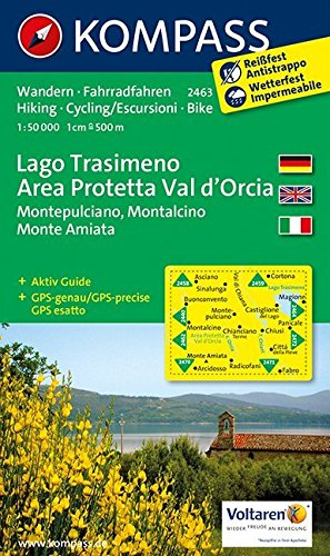 Carta escursionistica n. 2463. lago trasimeno, area protetta val d'orcia. adatto a gps. digital map. dvd-rom: wandelkaart 1:50 000