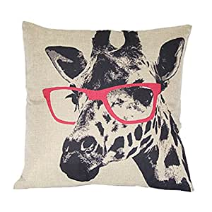Luxbon Giraffe In Glasses Cotton Linen Sofa Chair Seat Throw Pillow Case Cushion Cover 18 x 18/45X45CM Insert Not Included