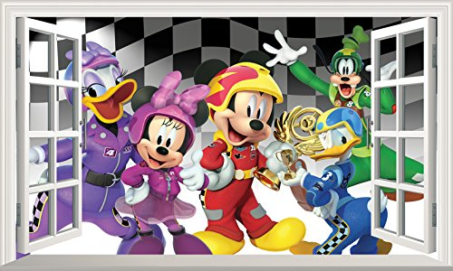 Chicbanners Mickey Mouse Roadster Racers – V406 Magic Fenster Wand Smash Crack Smash Wandaufkleber Selbstklebend Poster Wall Art Größe 1000 mm Breit x 600 mm Tief (groß)