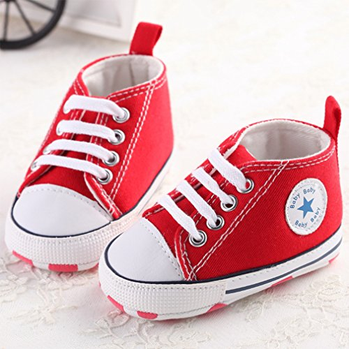 Cute Baby Canvas Sneaker Chaussures Antidérapantes Soft Trainer 0-18M Rouge