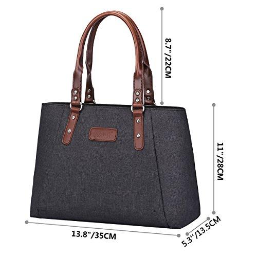 S-ZONE Sacchetto di cuoio delle donne di Borse di spalla di cuoio della borsa di grande capienza Borsa di lavoro durevole di sacchetto di lusso Sacchetto di lavoro alla moda delle signore alla moda Nero