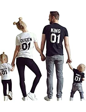 Minetom King Queen 01 Impresión Hombres Mujer Prince Princess Casual Fashion Tops Moda Manga Corta T-Shirt Ropa...