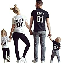 Minetom King Queen Prince Princess Stampa 01 Maglietta Tops Manica Corta Tshirts Prima Edizione Regalo Di San Valentino per Famiglia