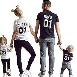 Minetom Mode Familie Ausgestattet Papa und Sohn Mama und Tochter Sommer Beiläufig Rundhals Kurzarm Brief Drucken T-Shirt Tops Schwarz Prince 100(Sohn)