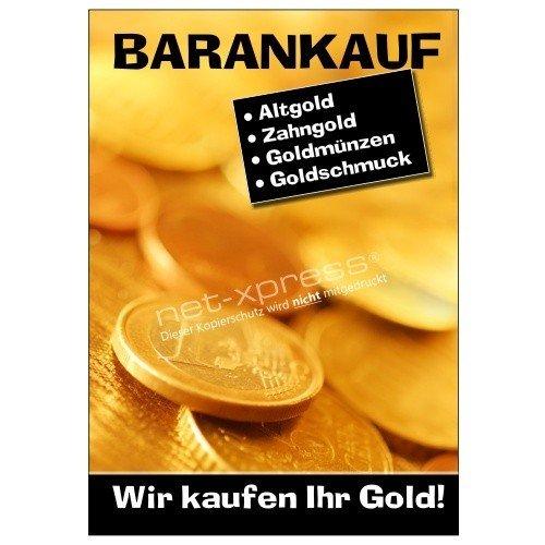 Plakat Wir kaufen Ihr Gold DIN A1, Werbeplakat Poster Goldankauf