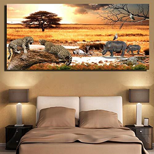 Rjjwai Afrikanische Wiese Sonnenuntergang Landschaft Poster und Drucke-Geparden und Nashörner Gemälde für Wohnzimmer Wand-Tiere Bilder Wohnzimmer Dekoration 40x60cm (Gepard-druck-wand-bilder)