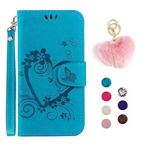 Kawaii-Shop Cartera de Cuero iPhone 5 5S SE Tapa para teléfono Azul Estilo de Libro de Funda para Tarjeta+Colgante Llavero en Forma de corazón