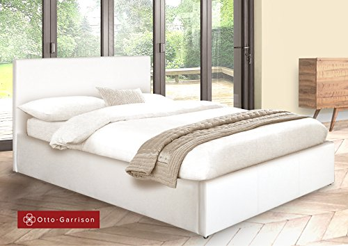 Ottoman King Size Storage Bed Upholstered in Faux Leather, 5ft, White
