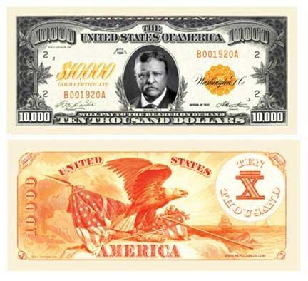 Set of 50 Bills - $10,000.00 Ten Thousand Dollar Gold Certificate Novelty Bill by American Art Classics
