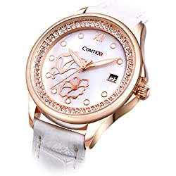 Comtex Women's Quartz Watch Rose Gold Tone with Mother of Pearl Dial Analogue White leather Strap