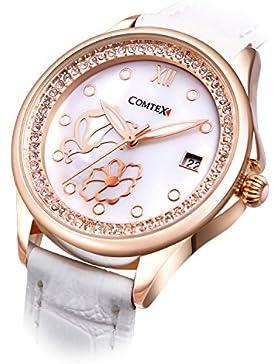 Comtex Modische Damen-Armbanduhr Quarz mit Weiß Zifferblatt Weiß Lederband Armbanduhr Wasserdicht