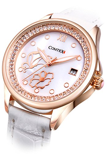Comtex-Womens-Quartz-Watch-Rose-Gold-Tone-with-Mother-of-Pearl-Dial-Analogue-White-leather-Strap
