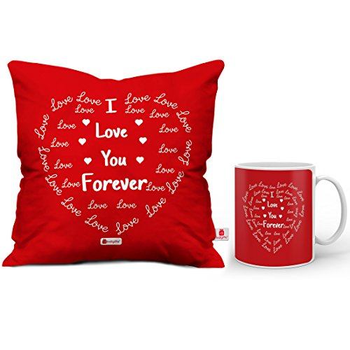I Love You Forever - Valentine Gift set of Cushion Cover with Filler & Ceramic Tea Coffee Mug (Romantic Valentine Birthday Anniversary Gift for Boyfriend Girlfriend Husband Wife Him Her Couple Lover)