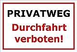 Melis Folienwerkstatt Schild - Privat-Weg - Durchfahrt Verboten - 30x20cm mit Bohrlöchern | Stabile 3mm Starke PVC Hartschaumplatte – S00069-B +++ in 20 Varianten