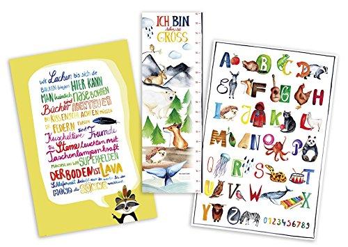 Kunstdruck 3er Set - Kinderzimmer - ABC Poster/Messlatte / Kinderzimmer-Regeln