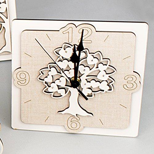 Bomboniere orologio da tavolo albero della vita e cuori in legno