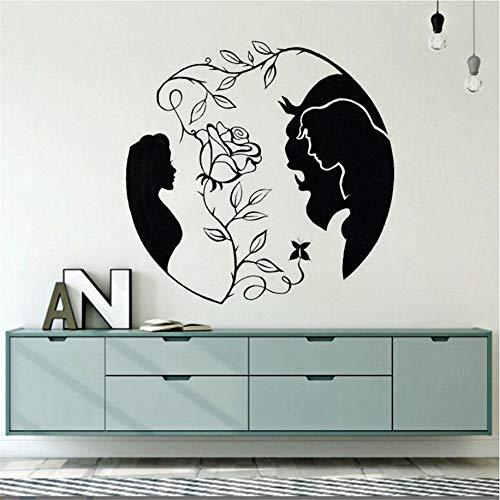s Die Schöne Und Das Biest Vinyl Wandtattoo Neues Design Rose Wandaufkleber Inspiriert Liebe Wandkunst Wandbild Schlafzimmer Decals57X57Cm Wohnzimmer Dekor Kinderzimmer ()