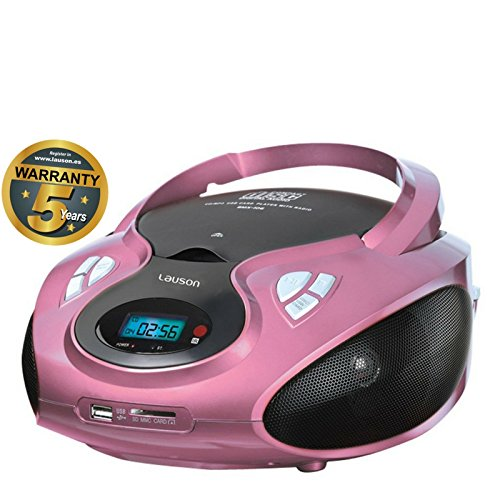 Lauson CD-Player | Tragbares Stereo Radio | USB | CD-MP3 Player für kinder | Stereo Radio | Stereoanlage | Kopfhöreranschluss | AUX IN | LCD-Display | Batterie sowie Strombetrieb | CP638 (Pink) (Cd-player Tragbare Stereoanlage)