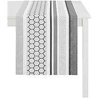 Blümchen Eckig 45x135 cm Beige Schwarz Tischläufer Tischband Top Qualität