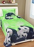 #10: HFI 140 TC PolyCotton Panda Single Bed Sheet with 1 Pillow Cover - Green