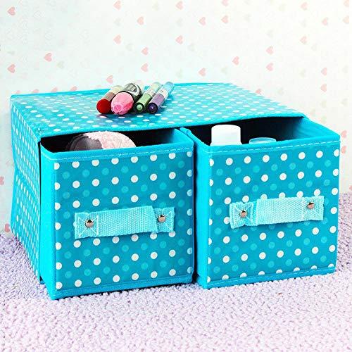 Kaige Wäschekorb Wasserdichte Non-Woven Doppel Schublade Schmuck Aufbewahrungsbox klappbar Desktop-Damen Kosmetik Box 30 * 22 * 15 cm (Klappbar Holz-schmuck-boxen,)