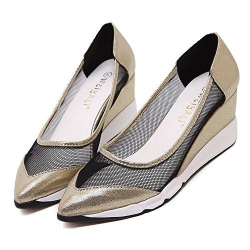 VogueZone009 Donna Trafilatura Colore Assortito Tirare Scarpe A Punta Tacco Medio Ballerine Oro