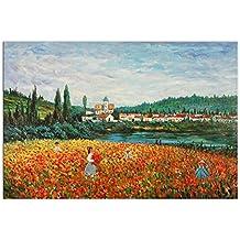 Campo de amapolas Cuadro pintura al oleo realizada a mano sobre lienzo montada sobre bastidor estetico