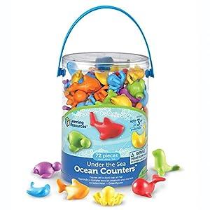 Learning Resources- Bajo el mar, Figuras Marinas, Juego de 72, Color (LER3341)