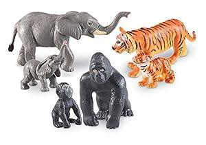 Learning Resources- Animales de la Jungla Jumbo mamás y Sus crías, Color (LER0839)