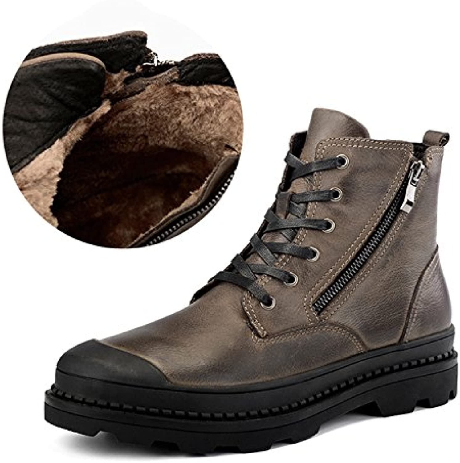 Genuine Leather Ankle Boots For Male Botas Plush Men Boots Warm Winter Shoes