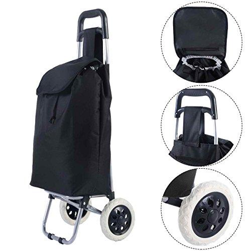 Unbekannt GOPLUS Einkaufstrolly bis 35kg Einkaufswagen Einkaufstasche mit Rollen 33L schwarz