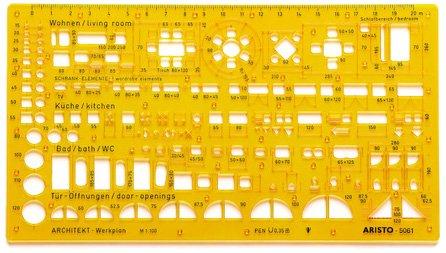 Aristo Werkplanschablone Architekten (1:100, 225 x 125 mm, 1,2 mm) transparent gelb