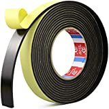 OFNMY Self Adhesive Insulation Foam Tape,Black, single sided,Length 10 meters x Thick 2mm x Width 20mm, Pack of 1 pcs
