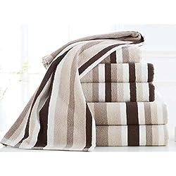 Lujo 5pc juego de toallas bale100% algodón rayas 600gsm suave nuevo, chocolate, Toalla de baño