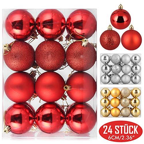 Zogin Christbaumkugeln 24 Stück 6cm Baumkugeln Weihnachtskugeln, Weihnachtsdeko Baumschmuck für Tannenbaum Christmasbaum Weihnachtsbaum, für Weihnachten, Hochzeit, Jubiläum, Party, Familie usw. (rot)
