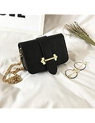 Mujeres con cadena de hebilla Pequeño Bolso cuadrado Hombro messenger paquete de moda bolsa Negro