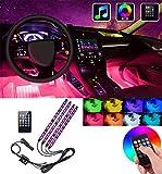 JKLOVE Striscia Luce Interni per Auto,Illuminazione Auto Strisce+Modalità Musica+4 Barre Striscia LED Auto +8 Colori+48 Led RGB+Telecomando+USB HUB Auto+Caricabatteria per auto,Luci abitacolo auto