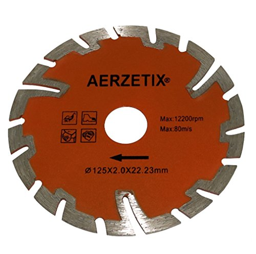 AERZETIX: Disco de diamante turbo segmentado 125mm 22.2mm para amoladoras angulares de corte baldosas piedra hormigón C18204