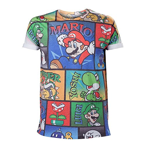 Nintendo T-Shirt -L- Mario & Co all over print (Co-shirts)