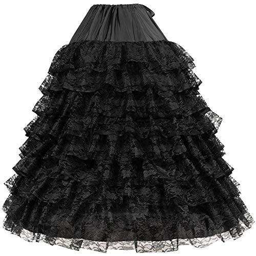 LONGBLE Reifrock Petticoat Unterrock Brautkleid Hochzeit Krinoline Underskirt 6 Hoop verstellbar Unterröcke mit Spitze Schicht für Hochzeitskleider Ballkleider Abendkleider Brautkleider Promkleider