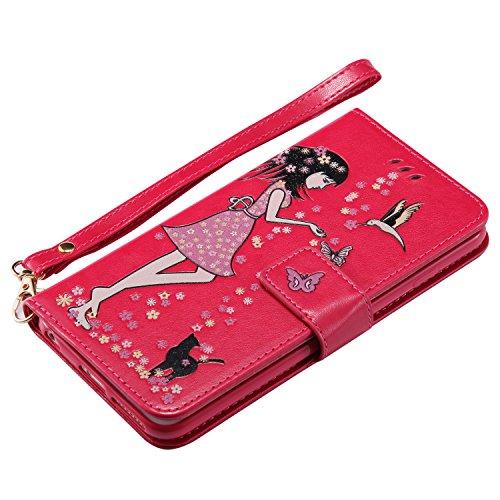 Custodia portafoglio iPhone 6 Plus 6S Plus, Feeltech Premio Cover in Pelle PU Soft Luminoso Snap On Annata Flip Shell Cover Ragazza Fiore Farfalla Modello Con il Supporto della Scheda Dual Layer Assor Rosa Rosso