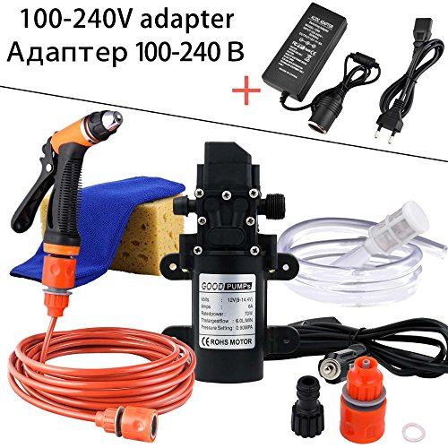 DC 12V 5-6 L / min 0.85-0.9Mpa Portable Pet Garten Boot Autowaschanlage Set Auto Sprayer 70W Hochdruck selbstansaugende Elektrische Washer Washer Kit Wasserpumpe + Optional Wählen Sie Adapter / Foam Gun (Gun-adapter-kit)