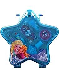 Disney Frozen blauer Schminkkoffer in Stern-Form mit Henkel (enthält kindgerechte Schminke für Augen und Lippen, Nagellack, Schmuck), Geschenk für Mädchen
