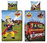 Familando Wende Bettwäsche Feuerwehrmann Sam, 135 x 200 cm 80 x 80 cm, 100% Baumwolle, Linon 2 Motive auf Einer Bettwäsche