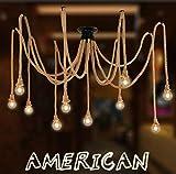 Lampadario ragno corda di canapa / stile industriale retrò / soggiorno sala da pranzo bar balcone / lampade non includono lampadine