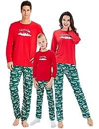 chicolife Familia Que el árbol de Navidad Set Fija Superior Pantalones de Manga Larga Pijama Ropa de Dormir para bebés de mamá papá Familia
