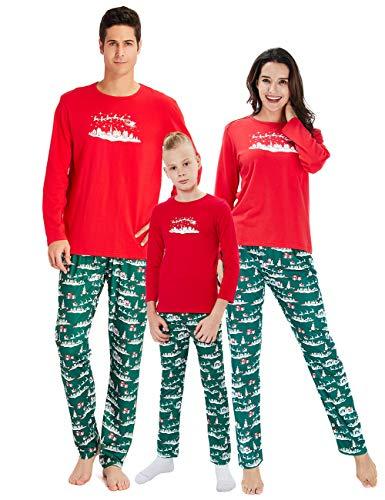 RAISERVEN Familia Coincidencia de árbol de Navidad establecidas Manga Larga Ropa de Dormir Pijamas Top Pantalones Conjuntos para bebés