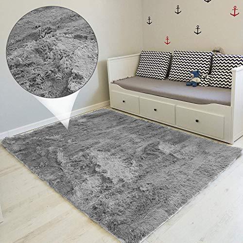 Amazinggirl Hochflor Shaggy Langflor Teppich - für Wohnzimmer Schlafzimmer modern flauschig Läufer Wohnzimmerteppich waschbar Indoor Outdoor GRAU 160 x 230 cm